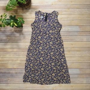 Vintage Floral High-Waisted Sleeveless Dress